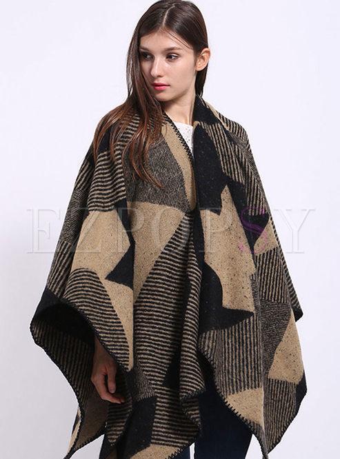 Geometric Print Striped Cloak Scarf