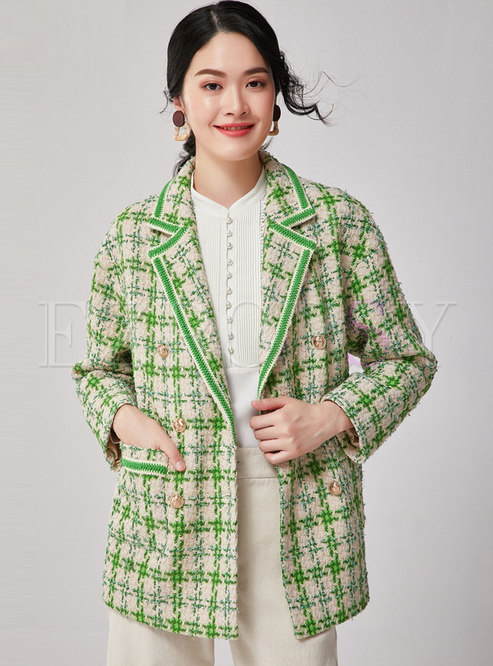 Notched Double-breasted Tweed Loose Coat