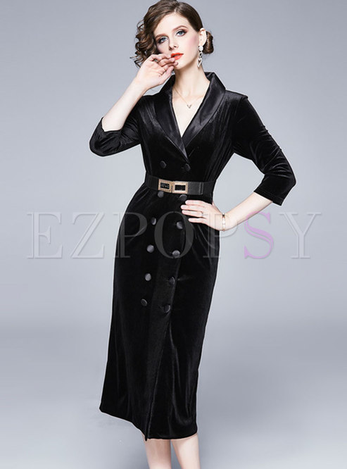 Black V-neck Double-breasted Bodycon Dress With Belt