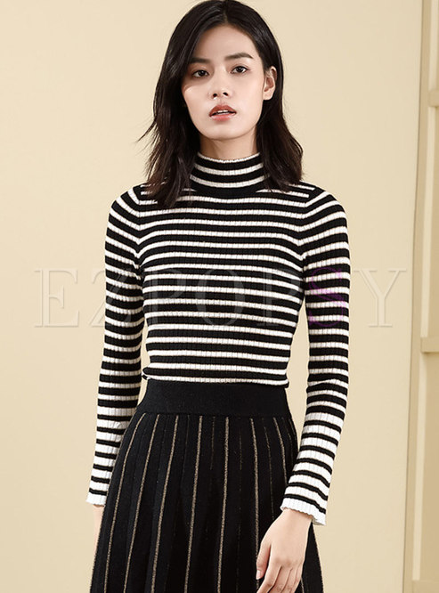 High Collar Flare Sleeve Striped Slim Sweater
