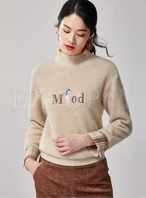 Half Turtleneck Letter Print Sweatshirt