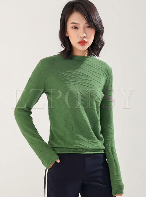 Solid Color Crew Neck Pullover Sweater