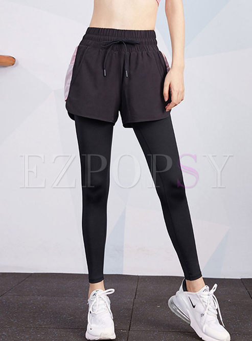 Elastic Waist Drawcord Patchwork Yoga Pants