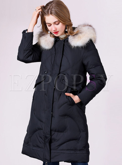 Hooded Straight Down Coat With Fur Collar