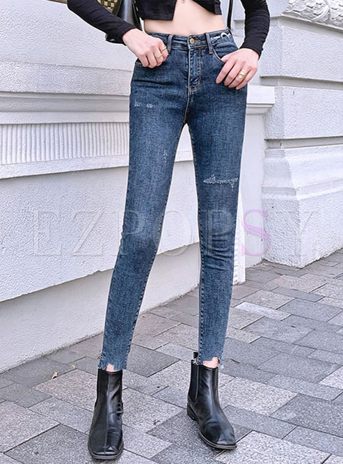 High Waisted Thick Denim Pencil Pants