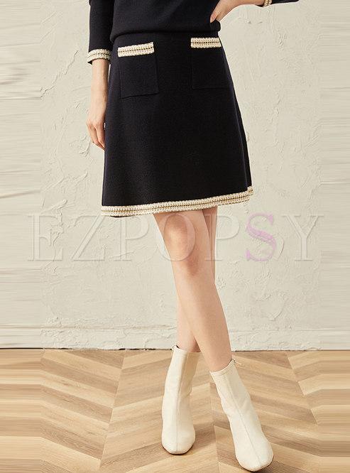 Patchwork Color-blocked A Line Knit Skirt