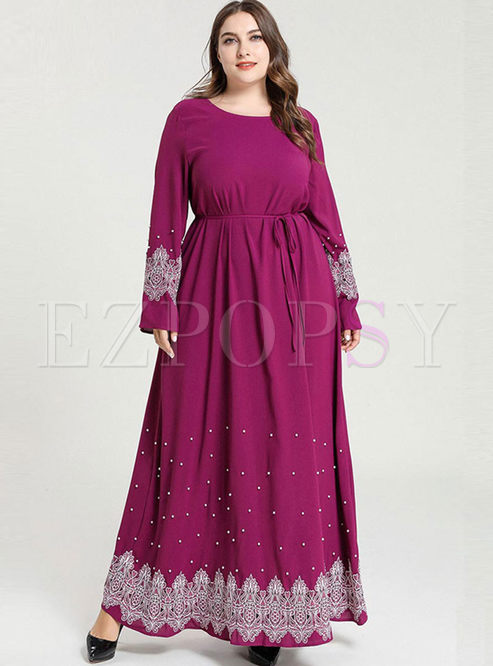 Plus Size Embroidered Beading Maxi Dress
