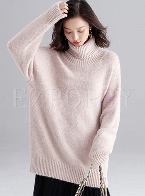 Solid Color Turtleneck Loose Knit Sweater