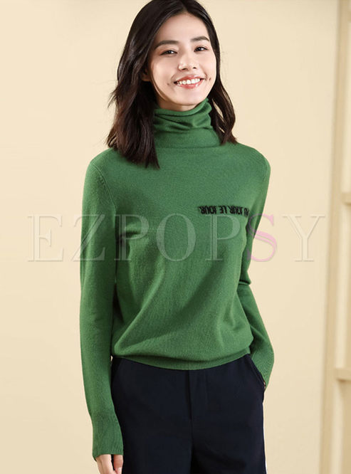 Cowl Neck Letter Print Slim Sweater