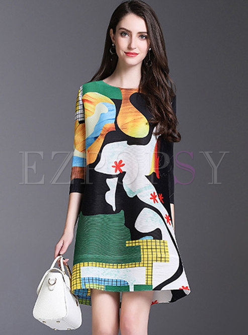 Color-blocked 3/4 Sleeve Pleated Shift Dress