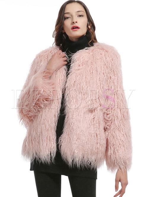 Solid Color Long Sleeve Faux Fur Coat