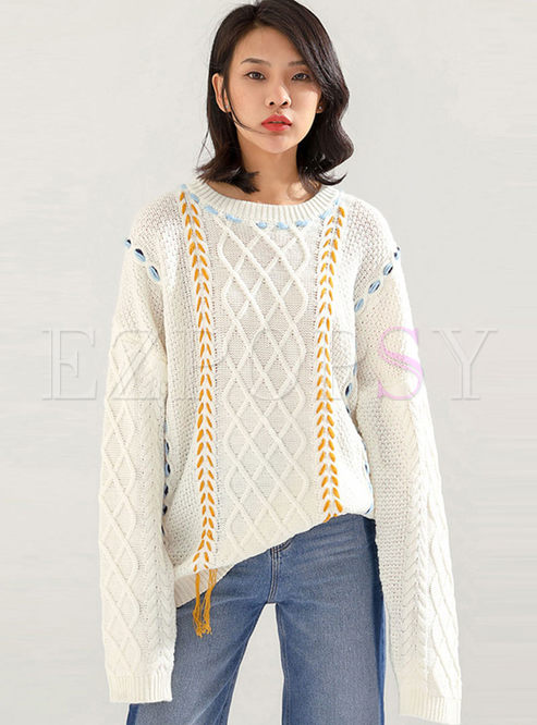 Color-blocked Plus Size Cable Knit Sweater