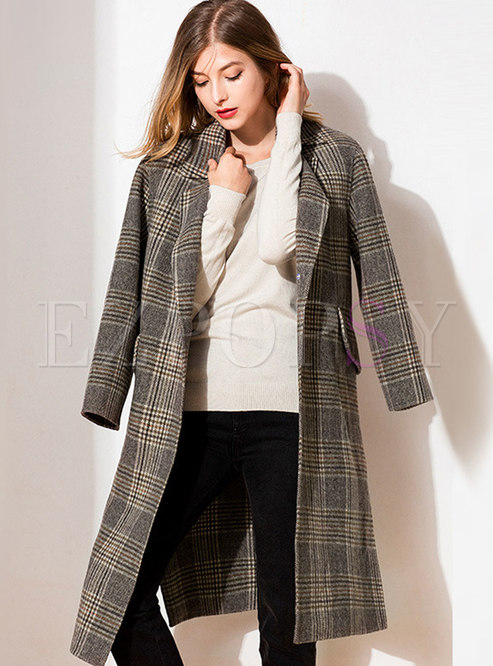 Plaid Straight Single-breasted Wool Coat