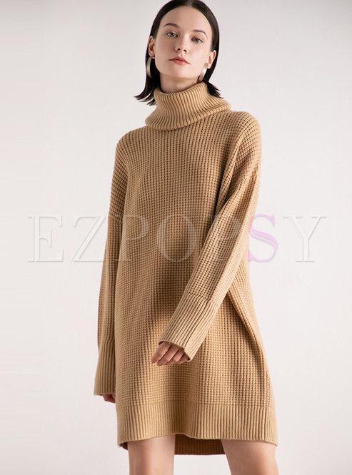 Solid Color Turtleneck Loose Sweater Dress