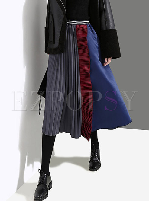 Elastic Waisted Pleated Patchwork Color-blocked Skirt