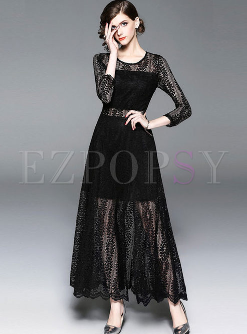 Black Long Sleeve Lace Prom Maxi Dress
