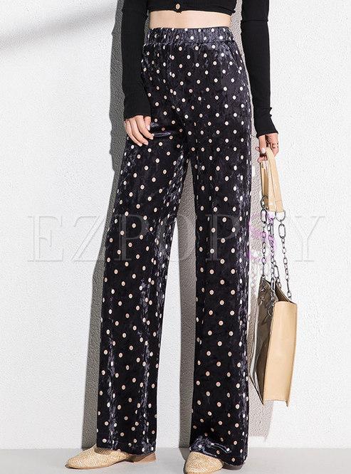 Elastic Waisted Dot Velvet Wide Leg Pants