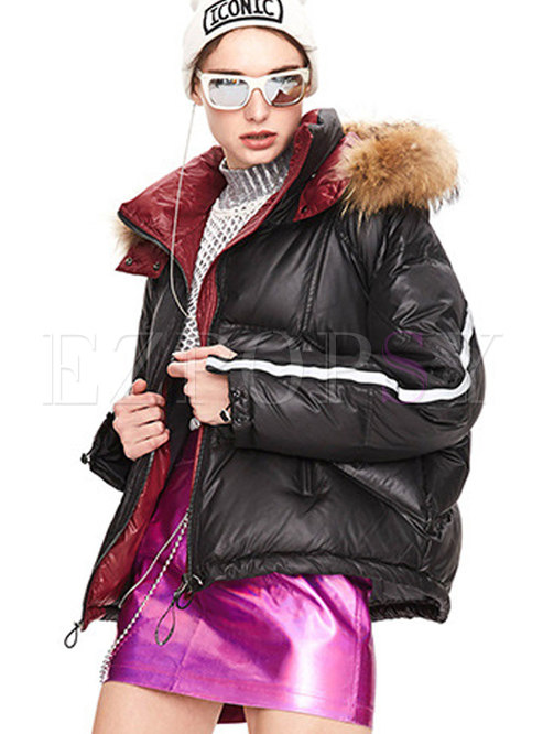Color-blocked Hooded Straight Short Puffer Coat