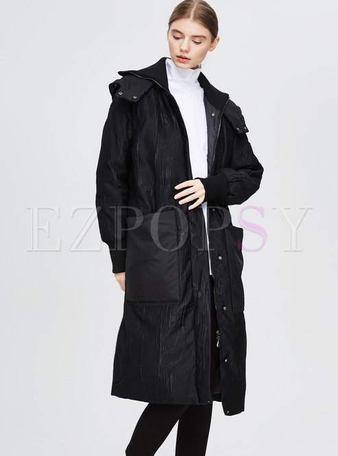 Hooded Straight Loose Long Down Coat