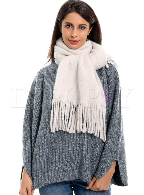 Solid Color Fringed Thick Scarf