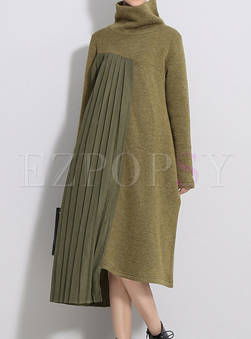 Turtleneck Asymmetry Patchwork Pleated Sweater Dress