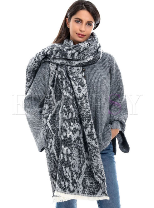 Animal Print Faux Cashmere Fringed Scarf