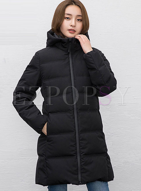Hooded Long Sleeve Puffer Coat
