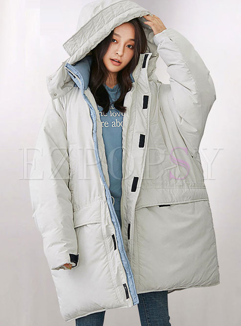 Hooded Loose Straight Orolay Down Coat
