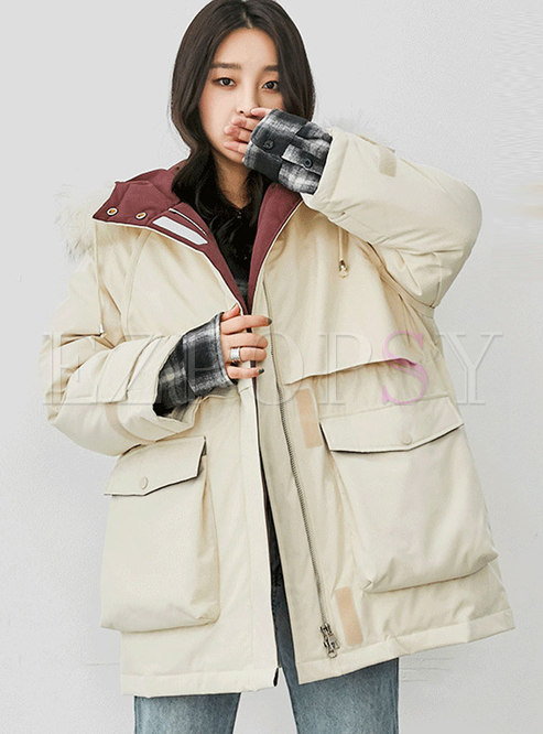 Solid Color Hooded Orolay Coat With Drawcord