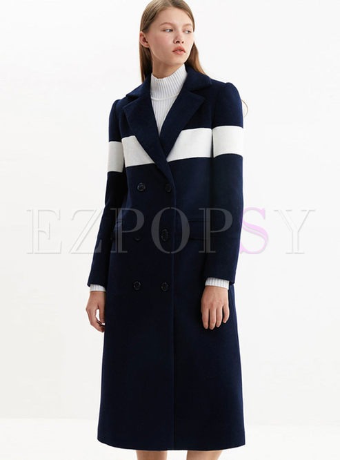 Notched Color-blocked Loose Long Peacoat