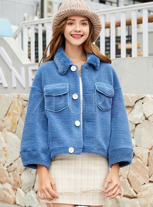 Solid Color Lapel Short Teddy Bear Jacket