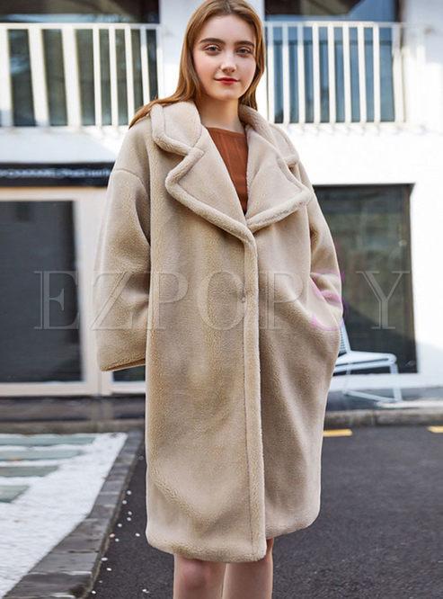 Notched Fleece Long Teddy Coat
