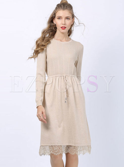 Long Sleeve Drawcord A Line Sweater Dress