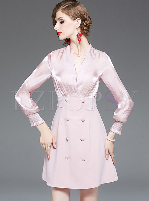 V-neck Long Sleeve Mini A Line Dress