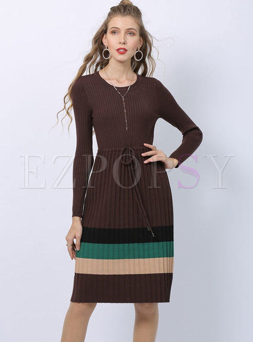 Color-blocked Long Sleeve A Line Sweater Dress