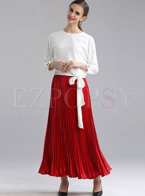 Crew Neck Pullover Pleated Suit Dress