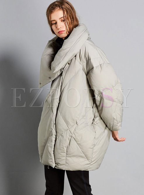 Plus Size Cloak Diamond Check Down Coat