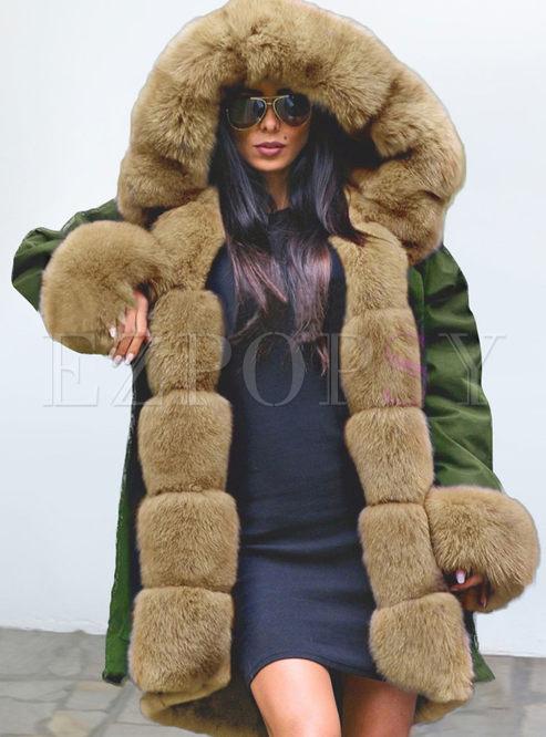 Fur Collar Hooded Ptchwork Loose Coat