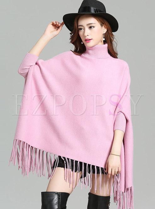 Loose Pure Color Tassel Patch Sweater