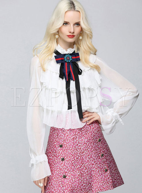 Vintage Bowknot Layered Puff Sleeve Blouse