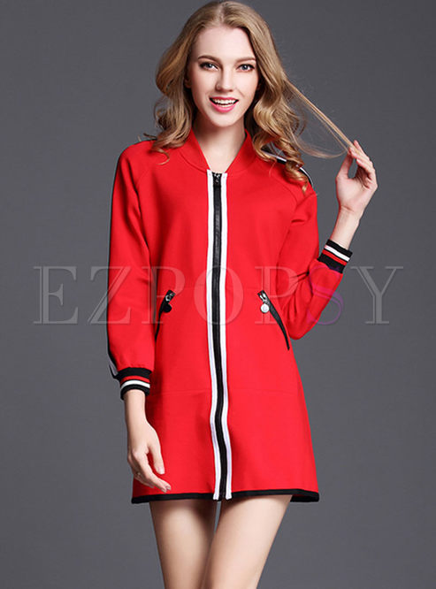 Red Zipper-front Striped Coat With Pockets