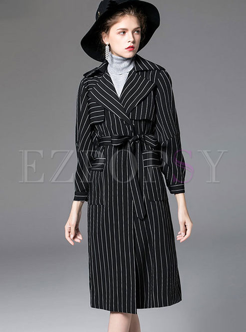 Black Lapel Striped Asymmetric Straight Trench Coat