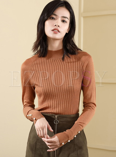 Pure Color Long Sleeve Pullover Sweater
