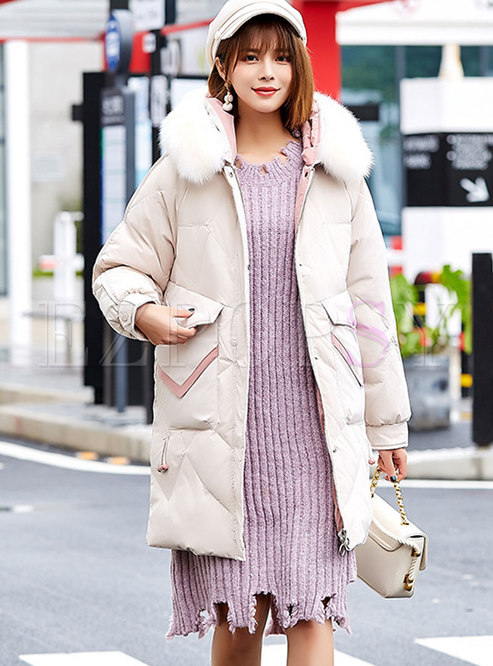 Hooded Patchwork Color-blocked Down Coat