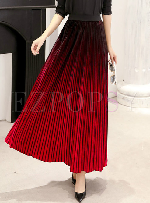 Elastic Waisted Pleated Cotton Thick A Line Skirt