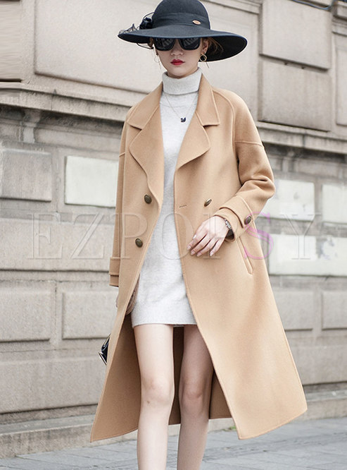 Solid Color Straight Long Wool Peacoat
