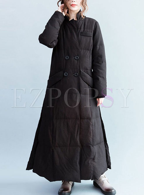 Black Mandarin Collar Long Puffer Coat