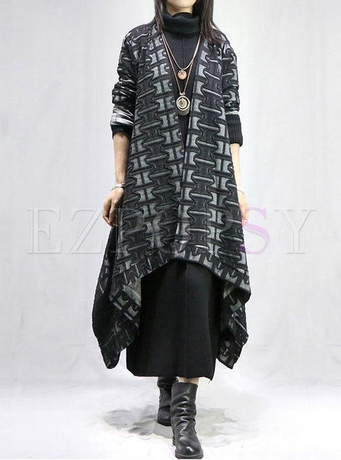 V-neck Long Sleeve Loose Long Coat