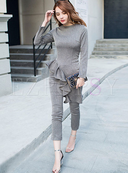 Crew Neck Falbala Asymmetric Pant Suits