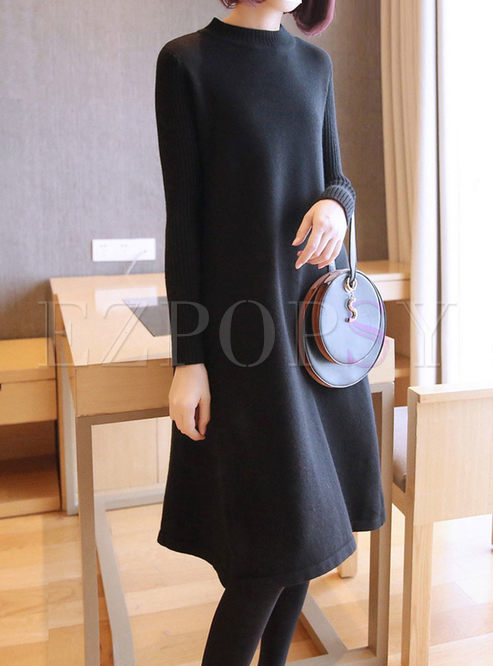 Long Sleeve Loose Sweater Midi Dress